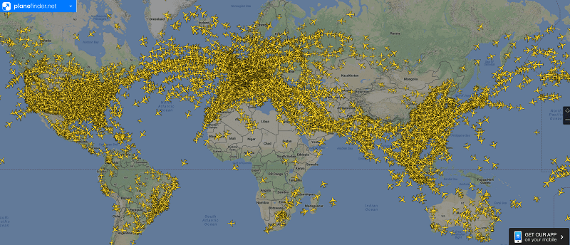 PlaneFinder map