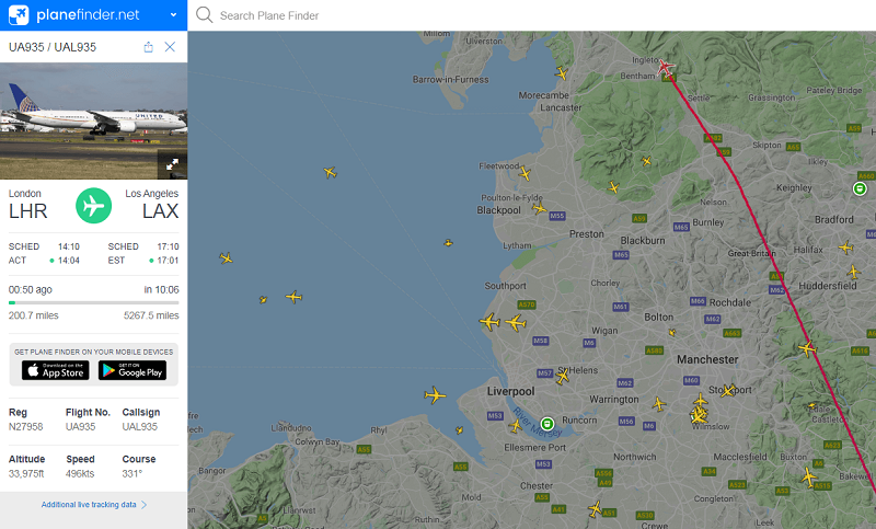 PlaneFinder plane tracker